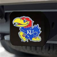 "University of Kansas Hitch Cover - Color on Black 3.4""x4"""