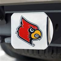 "University of Louisville Color Hitch Cover - Chrome 3.4""x4"""