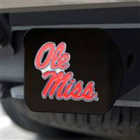 "University of Mississippi (Ole Miss) Hitch Cover - Color on Black 3.4""x4"""