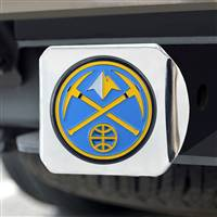 "NBA - Denver Nuggets Color Hitch Cover - Chrome 3.4""x4"""