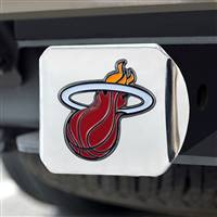 "NBA - Miami Heat Color Hitch Cover - Chrome 3.4""x4"""
