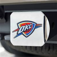 "NBA - Oklahoma City Thunder Color Hitch Cover - Chrome 3.4""x4"""
