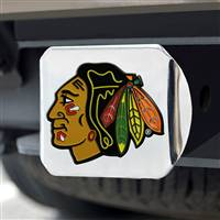 "NHL - Chicago Blackhawks Color Hitch Cover - Chrome 3.4""x4"""