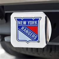 "NHL - New York Rangers Color Hitch Cover - Chrome 3.4""x4"""