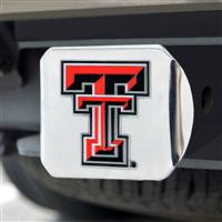 "Texas Tech University Color Hitch Cover - Chrome 3.4""x4"""