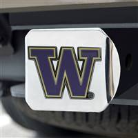 "University of Washington Color Hitch Cover - Chrome 3.4""x4"""