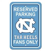 North Carolina Tar Heels Sign - Plastic - Reserved Parking - 12 in x 18 in