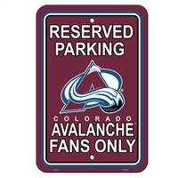 Colorado Avalanche Sign - Plastic - Reserved Parking - 12 in x 18 in - Special Order