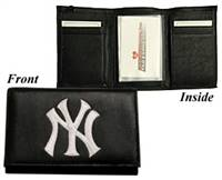 New York Yankees Wallet Trifold Leather Embroidered