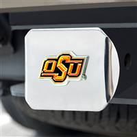 "Oklahoma State University Color Hitch Cover - Chrome 3.4""x4"""