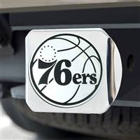 "NBA - Philadelphia 76ers Hitch Cover - Chrome on Chrome 3.4""x4"""