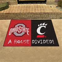 "House Divided - Ohio State/Cincinnati House Divided Mat 33.75""x42.5"""