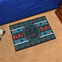"Miami Marlins Holiday Sweater Starter Mat 19""x30"""