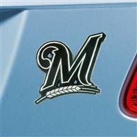 "Milwaukee Brewers Chrome Emblem 3""x3.2"""