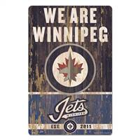 Winnipeg Jets Sign 11x17 Wood Slogan Design - Special Order
