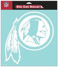 Washington Redskins Decal 8x8 Die Cut White