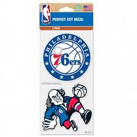 Philadelphia 76ers Decal 4x4 Perfect Cut Set of 2 - Special Order