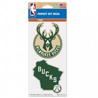 Milwaukee Bucks Decal 4x4 Die Cut Set of 2