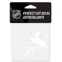 San Jose Sharks Decal 4x4 Perfect Cut White