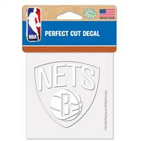 Brooklyn Nets Decal 4x4 Perfect Cut White - Special Order