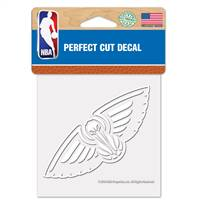 New Orleans Pelicans Decal 4x4 Perfect Cut White - Special Order