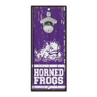 TCU Horned Frogs Sign Wood 5x11 Bottle Opener - Special Order