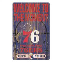 Philadelphia 76ers Sign 11x17 Wood Slogan Design