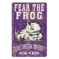 TCU Horned Frogs Sign 11x17 Wood Slogan Design