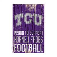 TCU Horned Frogs Sign 11x17 Wood Proud to Support Design
