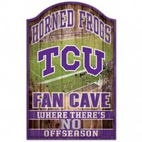 TCU Horned Frogs Sign 11x17 Wood Fan Cave Design - Special Order