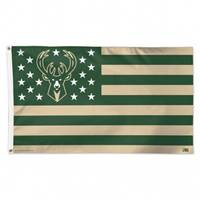 Milwaukee Bucks Flag 3x5 Deluxe Style Stars and Stripes Design - Special Order
