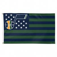 Utah Jazz Flag 3x5 Deluxe Style Stars and Stripes Design - Special Order
