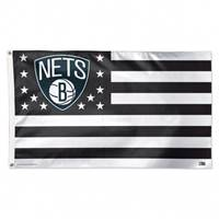 Brooklyn Nets Flag 3x5 Deluxe Style Stars and Stripes Design - Special Order