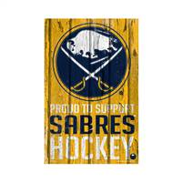 Buffalo Sabres Sign 11x17 Wood Proud to Support Design