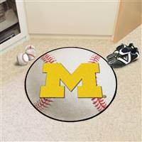 "Michigan Wolverines Baseball Rug 29"" diameter"