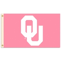 Oklahoma Sooners 3 Ft. X 5 Ft. Flag W/Grommets - Pink Design