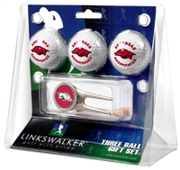 Arkansas Razorbacks 3 Ball Gift Pack w/ Cap Tool
