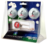 Cincinnati Bearcats 3 Ball Gift Pack w/ Cap Tool