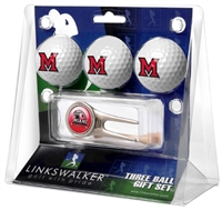 Miami Ohio Redhawks 3 Ball Gift Pack w/ Cap Tool