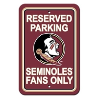 "Fremont Die Florida State Seminoles 12"" X 18"" Plastic Parking Sign"