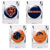 Chicago Bears 4pc Square Shot Glass Set (Individual Logos)