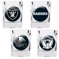 Oakland Raiders 4pc Square Shot Glass Set (Individual Logos)