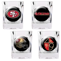 San Francisco 49ers 4pc Square Shot Glass Set (Individual Logos)