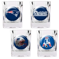 New England Patriots 4pc Square Shot Glass Set (Individual Logos)