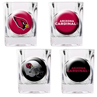 Arizona Cardinals 4pc Square Shot Glass Set (Individual Logos)