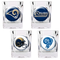 St. Louis Rams 4pc Square Shot Glass Set (Individual Logos)