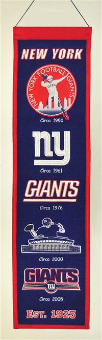 New York Giants Heritage Wool Banner