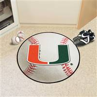 "Miami Hurricanes Baseball Rug 29"" Diameter"