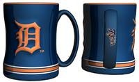 Detroit Tigers Coffee Mug - 14oz Sculpted Relief - Blue
