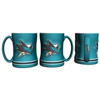 San Jose Sharks Coffee Mug 14oz Sculpted Relief